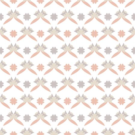Seamless pattern with little abstract hearts. White, gray, orange and ivory cream. Vector