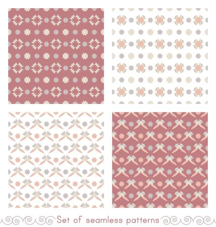 Set of seamless patterns with little abstract hearts. Pink red color, white, gray, orange and ivory cream. Vector.