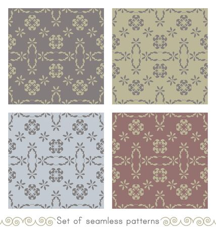 Set of seamless patterns with little hearts. Color light blue, light green, gray and burgundy red. Vector. Illustration