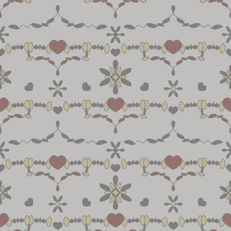 Seamless pattern with little hearts. Gray, light gray, light green and burgundy color. Vector.