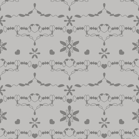 Seamless pattern with little hearts. Color gray and light gray. Vector.