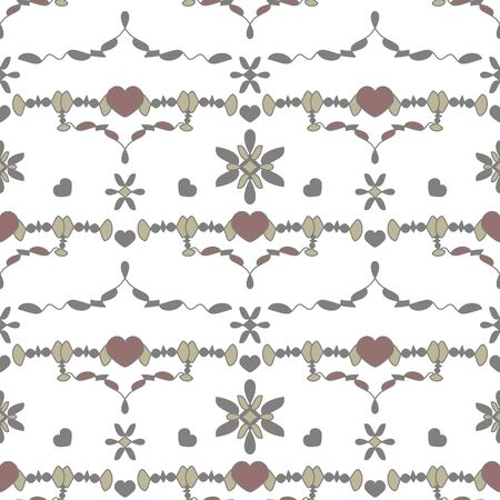 Seamless pattern with little hearts. White, gray, light gray, light green and burgundy color. Vector