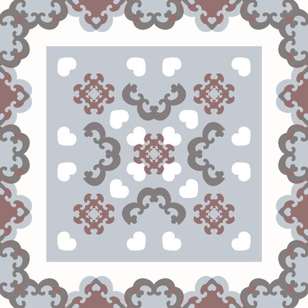 Seamless pattern. Fancy frame with hearts. White, gray, light blue, and burgundy color. Vector Illustration