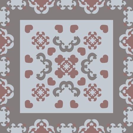 Seamless pattern. Fancy frame with hearts. Gray, light blue, and burgundy color. Vector Illustration