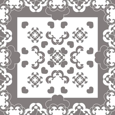 Seamless pattern. Fancy frame with hearts. White and gray. Vector Illustration