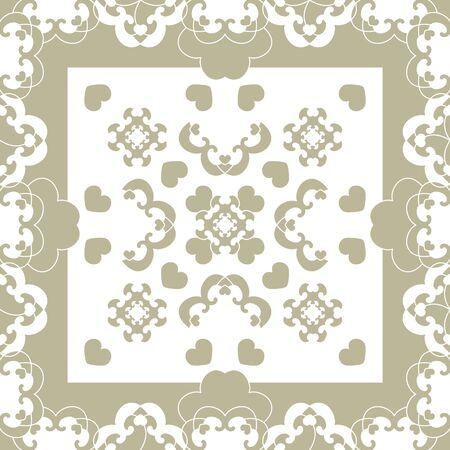 Seamless pattern. Fancy frame with hearts. Light green and white. Vector.