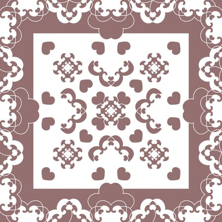 Seamless pattern. Fancy frame with hearts. White and burgundy color. Vector Illustration