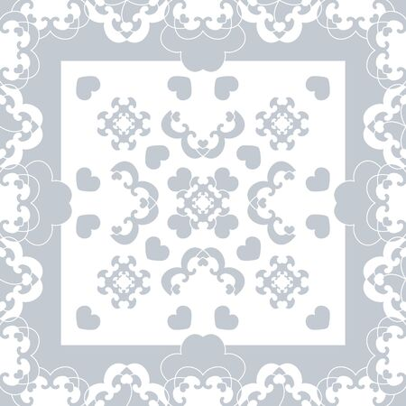 Seamless pattern. Fancy frame with hearts. Light blue, and white. Vector