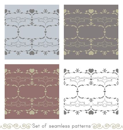 Set of seamless patterns with little hearts. Color light blue, light green, white, gray and burgundy red. Vector.
