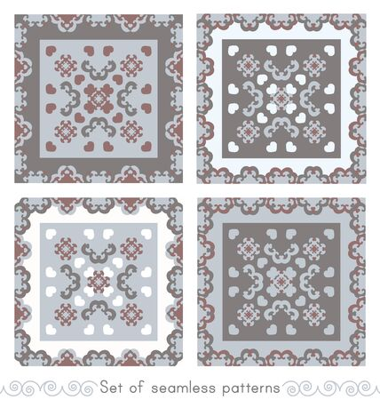 Set of seamless patterns. Fancy frame with hearts. White, gray, light blue, and burgundy color. Vector Illustration