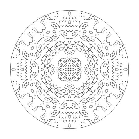 Mandala coloring page. Art Therapy. Anti-stress coloring page. Illustration