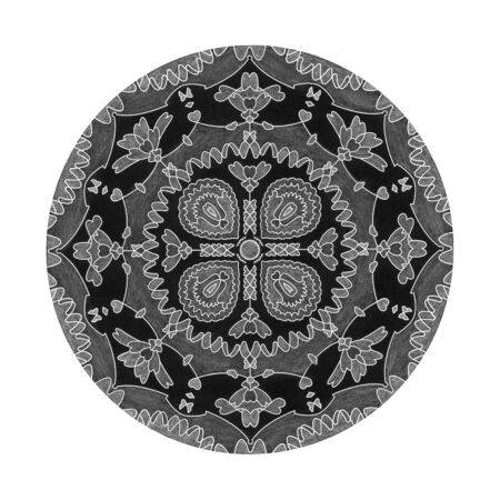 Colored pencil effects. Black, white and gray mandala illustration. Hearts abstract. Decorative element.