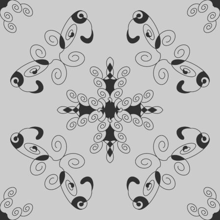 Seamless pattern with spirals. Dark gray and Light gray. Vector. Banque d'images - 150545755