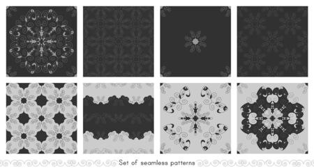 Set of seamless patterns with spirals. Dark gray and Light gray. Vector. Illustration