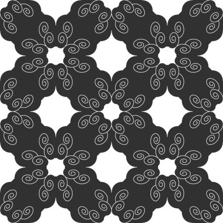 Seamless pattern with spirals. Dark gray and white. Vector.