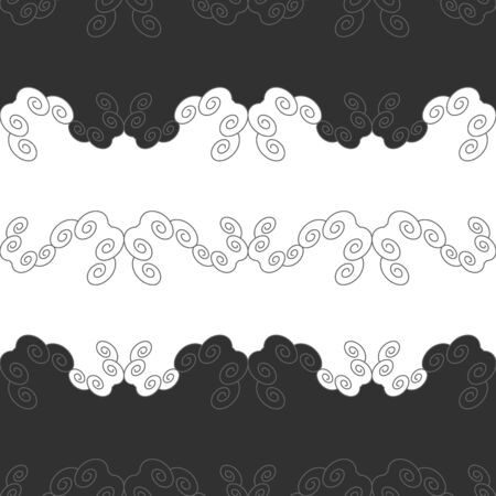 Seamless pattern with spirals. Gray, dark gray and white. Vector.