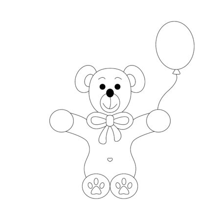 Little bear coloring page. Cute with his balloon. Vector illustration.