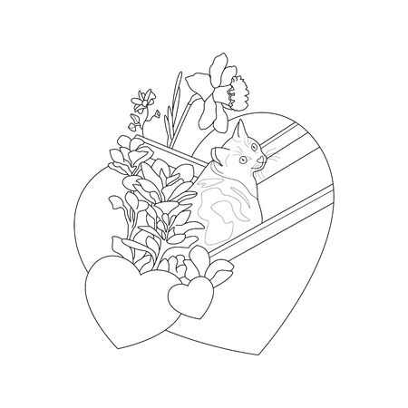 Cat coloring page. Cute cat in the deckchair. With pretty flowers and hearts. vector illustration. Illustration