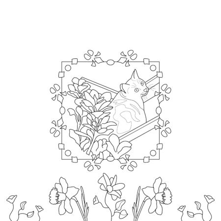 Cat coloring page. Cute cat in the deckchair. With pretty flowers. vector illustration. Illustration