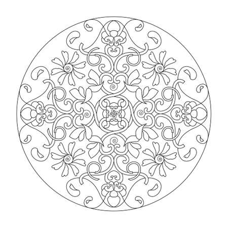 Mandala coloring page. Hearts, spirals, flowers and birds. vector illustration. Banque d'images - 151136860
