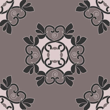 Seamless pattern with hearts, interlaced spirals and birds. Romantic. Colors Pinkish Brown dark and Pinkish Brown light, Dark gray. Vector. Banque d'images - 151222329