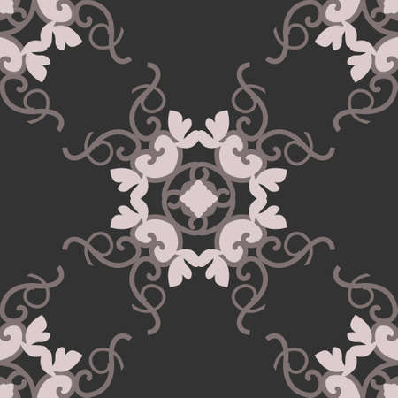 Seamless pattern with hearts, interlaced spirals and birds. Romantic. Colors Dark gray, Pinkish Brown dark and Pinkish Brown light. Vector. Banque d'images - 151222332