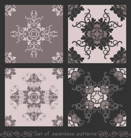 Set of seamless patterns with hearts, interlaced spirals and birds. Romantic. Colors Pinkish Brown dark and Pinkish Brown light, Dark gray. Vector. Banque d'images - 151222330