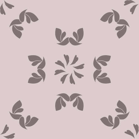 Seamless pattern with hearts, interlaced spirals and birds. Romantic. Colors Pinkish Brown dark and Pinkish Brown light, Dark gray. Vector. Banque d'images - 151222333