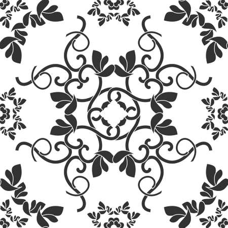 Seamless pattern with hearts, interlaced spirals and birds. Romantic. Colors Dark gray and white. Vector. Banque d'images - 151222334