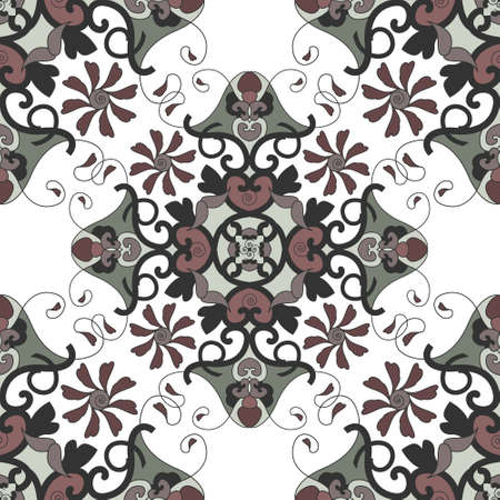 Seamless pattern with hearts, interlaced spirals and birds. Colors white, green, dark red and dark gray. Vector. Banque d'images - 151222335