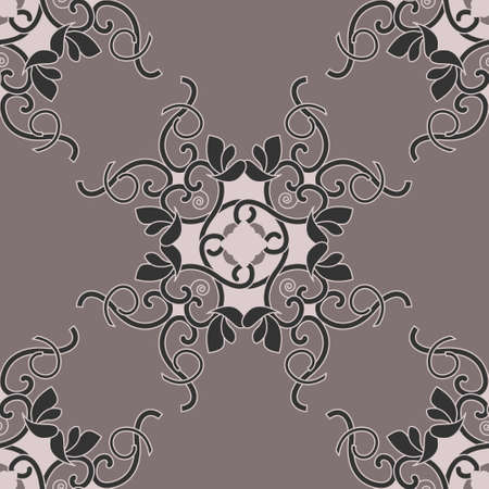 Seamless pattern with hearts, interlaced spirals and birds. Romantic. Colors Pinkish Brown dark and Pinkish Brown light, Dark gray. Vector. Banque d'images - 151222336