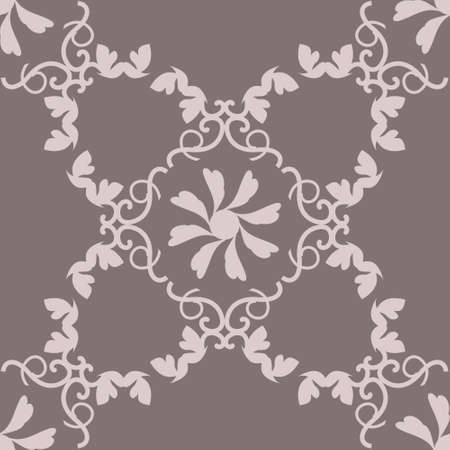 Seamless pattern with hearts, interlaced spirals and birds. Romantic. Colors Pinkish Brown dark and Pinkish Brown light. Vector. Banque d'images - 151222338