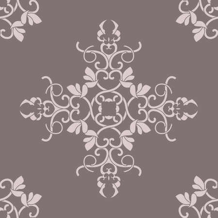 Seamless pattern with hearts, interlaced spirals and birds. Romantic. Colors Pinkish Brown dark and Pinkish Brown light. Vector. Banque d'images - 151222337