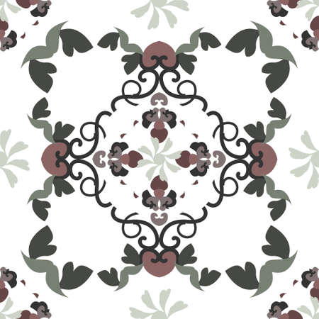 Seamless pattern with hearts, spirals and birds. Colors white, green, dark red and dark gray. Vector. Banque d'images - 151222339