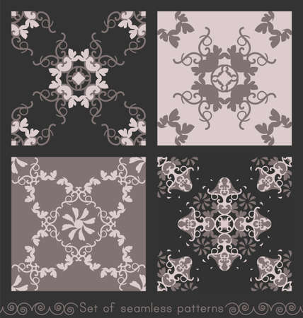 Set of seamless patterns with hearts, interlaced spirals and birds. Romantic. Colors Pinkish Brown dark and Pinkish Brown light, Dark gray. Vector. Banque d'images - 151222340