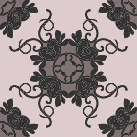 Seamless pattern with hearts, interlaced spirals and birds. Romantic. Colors, Pinkish Brown dark and Pinkish Brown light, Dark gray. Vector. Banque d'images - 151222343