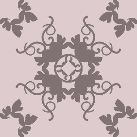 Seamless pattern with hearts, interlaced spirals and birds. Romantic. Colors Pinkish Brown dark and Pinkish Brown light. Vector. Banque d'images - 151222341