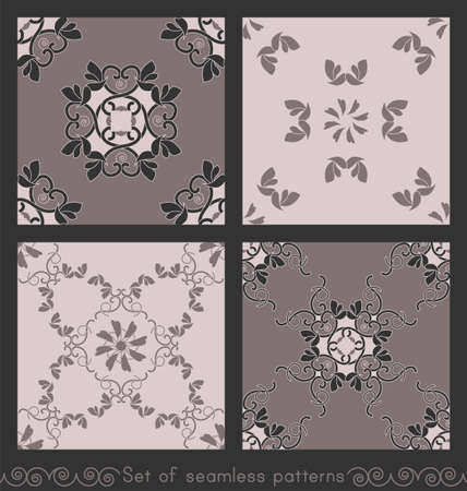 Set of seamless patterns with hearts, interlaced spirals and birds. Romantic. Colors Pinkish Brown dark and Pinkish Brown light, Dark gray. Vector.