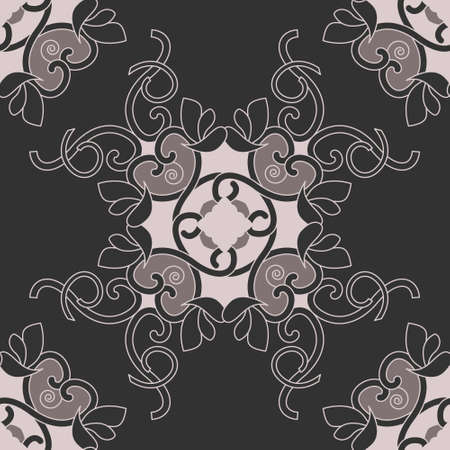 Seamless pattern with hearts, interlaced spirals and birds. Romantic. Colors Dark gray, Pinkish Brown dark and Pinkish Brown light,. Vector. Banque d'images - 151222347