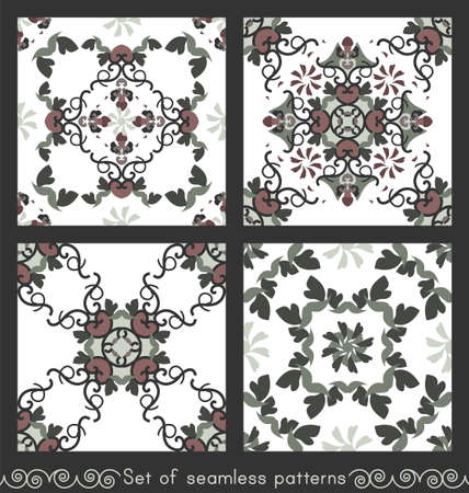 Set of seamless patterns with hearts, spirals and birds. Colors white, green, dark red and dark gray. Vector. Banque d'images - 151222353