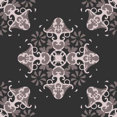 Seamless pattern with hearts, interlaced spirals and birds. Romantic. Colors Pinkish Brown dark and Pinkish Brown light, Dark gray. Vector. Banque d'images - 151222350