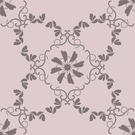 Seamless pattern with hearts, interlaced spirals and birds. Romantic. Colors Pinkish Brown dark and Pinkish Brown light. Vector. Banque d'images - 151222352