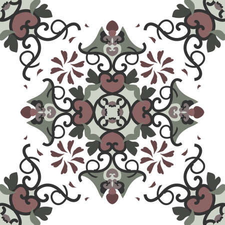 Seamless pattern with hearts, spirals and birds. Colors white, green, dark red and dark gray. Vector. Banque d'images - 151222354