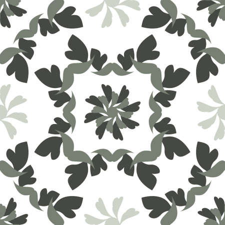 Seamless pattern with hearts and birds. Colors white and green. Vector. Banque d'images - 151222355