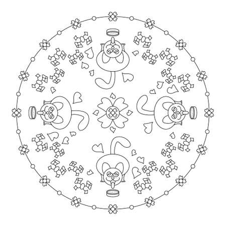 Cat drinking milk. Funny. Mandala coloring page. Vector. Banque d'images - 151556010