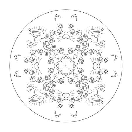 Original cat heads around a clock, with cat paws. Mandala coloring page. Vector. Banque d'images - 151578636