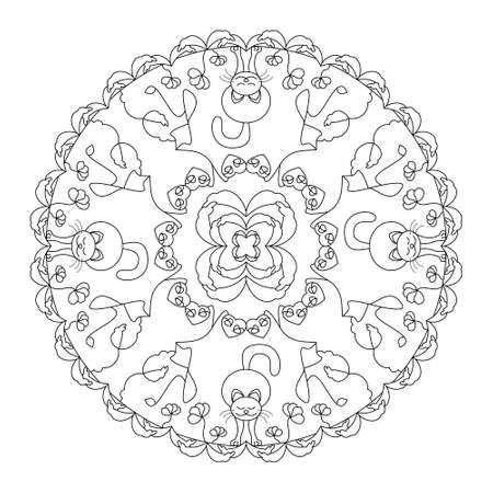 Cat stretching. Little flowers, hearts and leaves. Mandala coloring page. Vector. Banque d'images - 151668825
