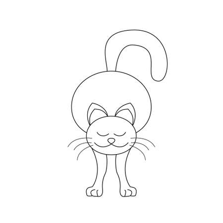 Cat stretching. Coloring page. Vector. Banque d'images - 151633565