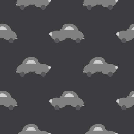 Funny gray car in the shape of a cloud. Dark gray background. Seamless pattern for kids. Vector illustration. Banque d'images - 152323516