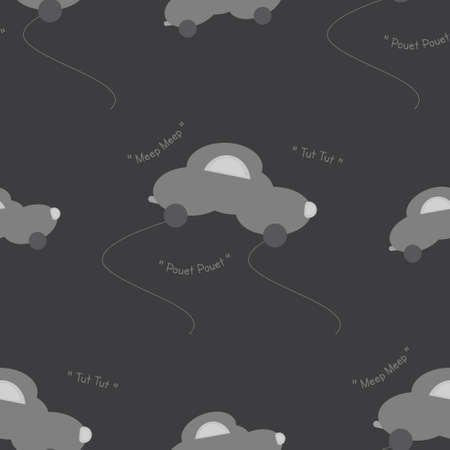 Funny gray car in the shape of a cloud. With car noise. Dark gray background. Seamless pattern for kids. Vector illustration. Banque d'images - 152323521